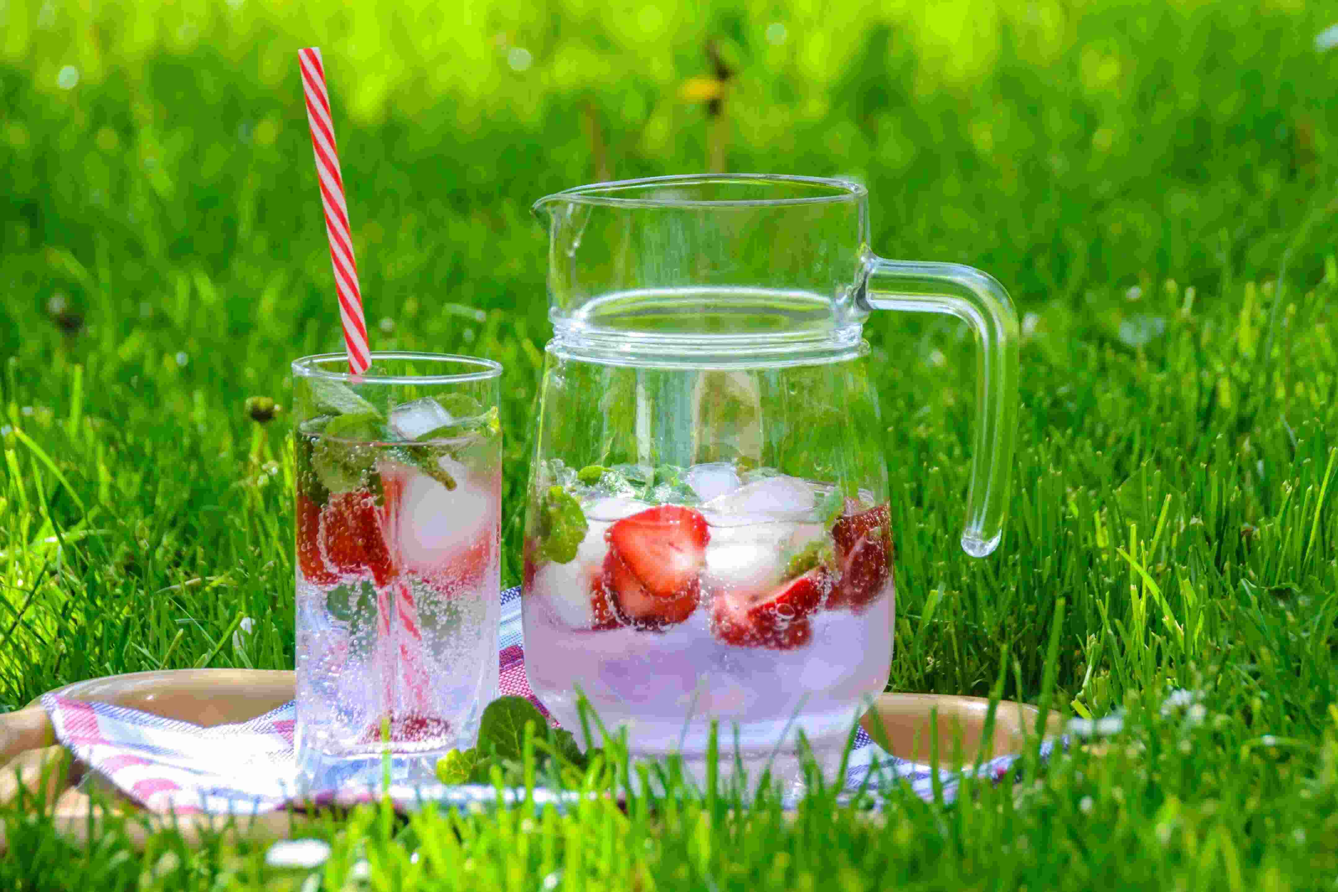 strawberry drink on green grass